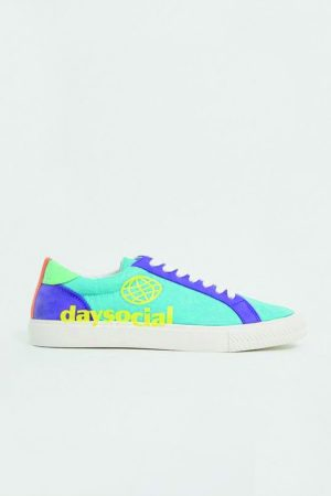 Bright color blocked sneakers