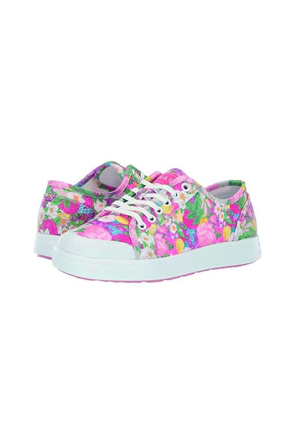 Pink floral sneakers, an example of women's sneaker trends for fall