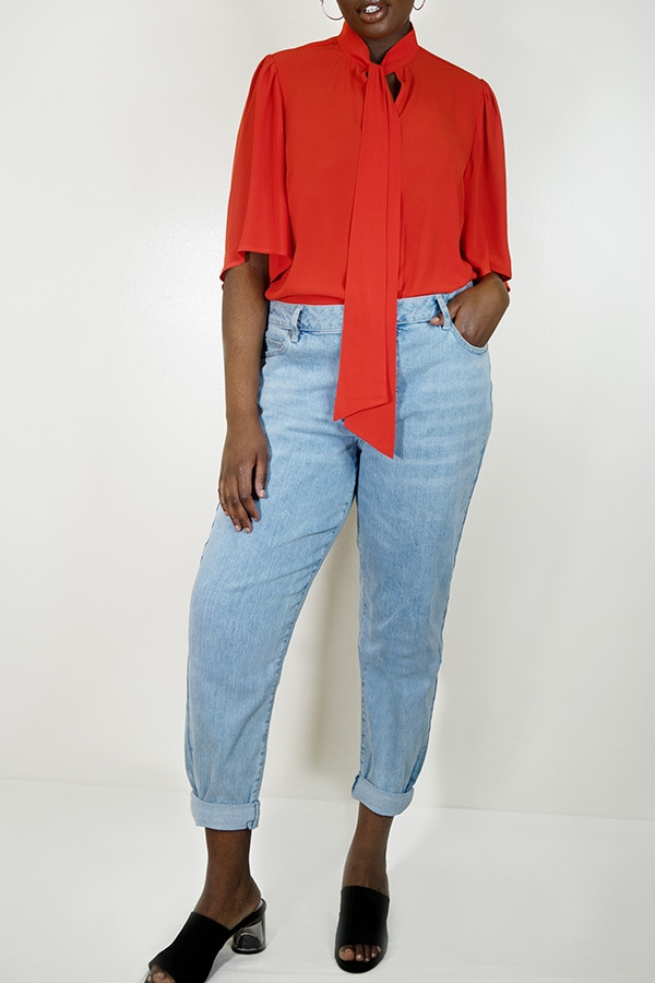 Red orange blouse from Eloquii Walmart collection