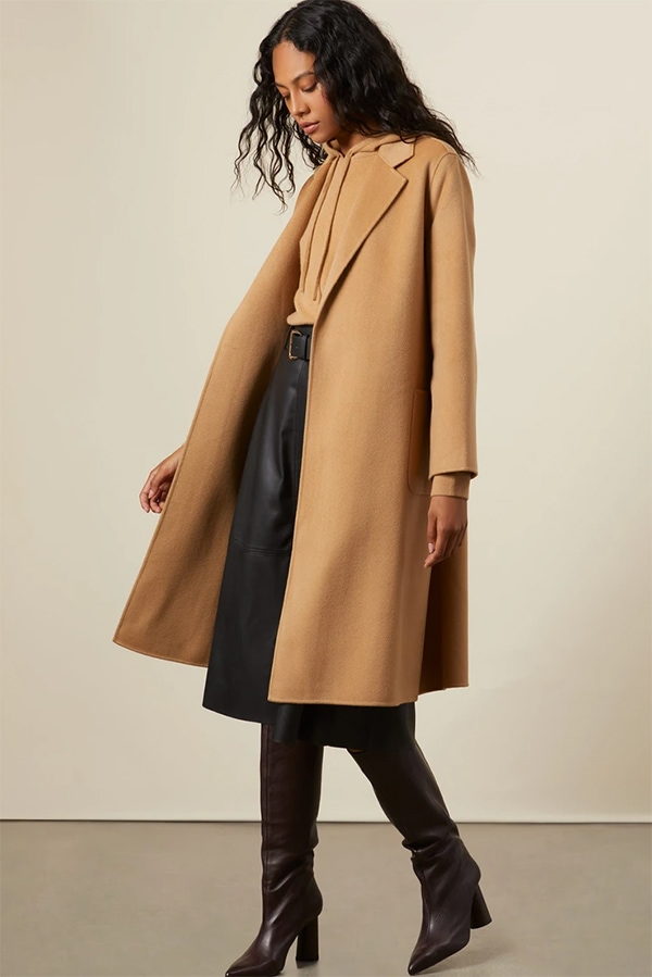 Kinsey Wool Cashmere Double Faced Robe Coat from Italic