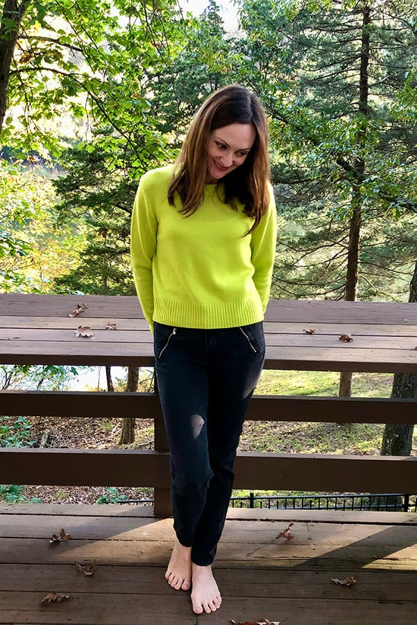 Catherine Brock wearing citrus cashmere sweater from italic