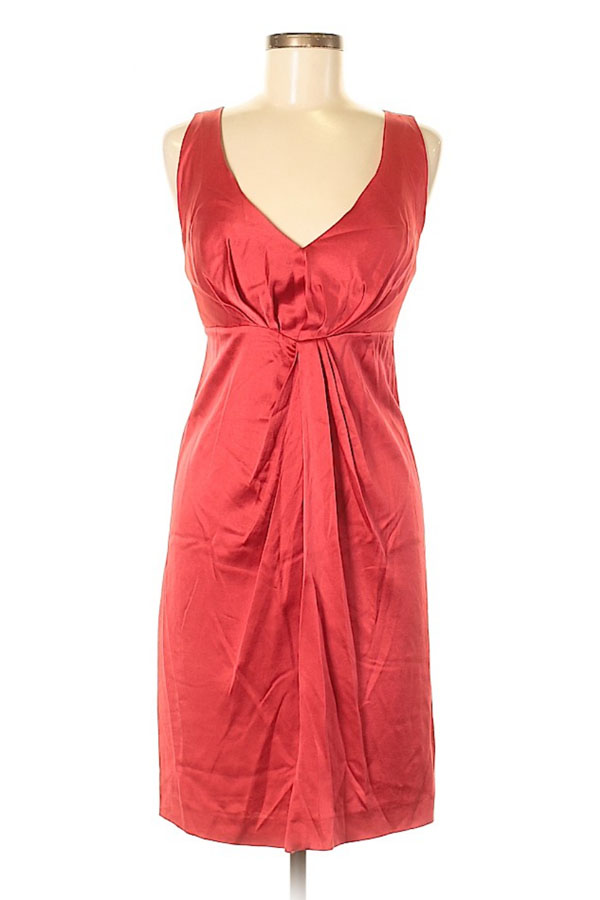 Red, knot-front holiday dress