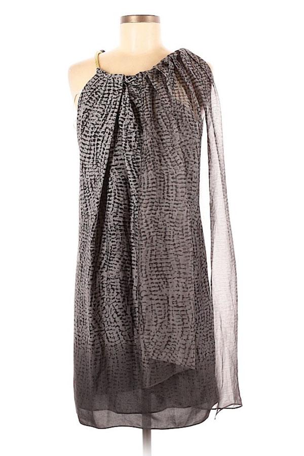 Grey Halston dress with sheer overlay