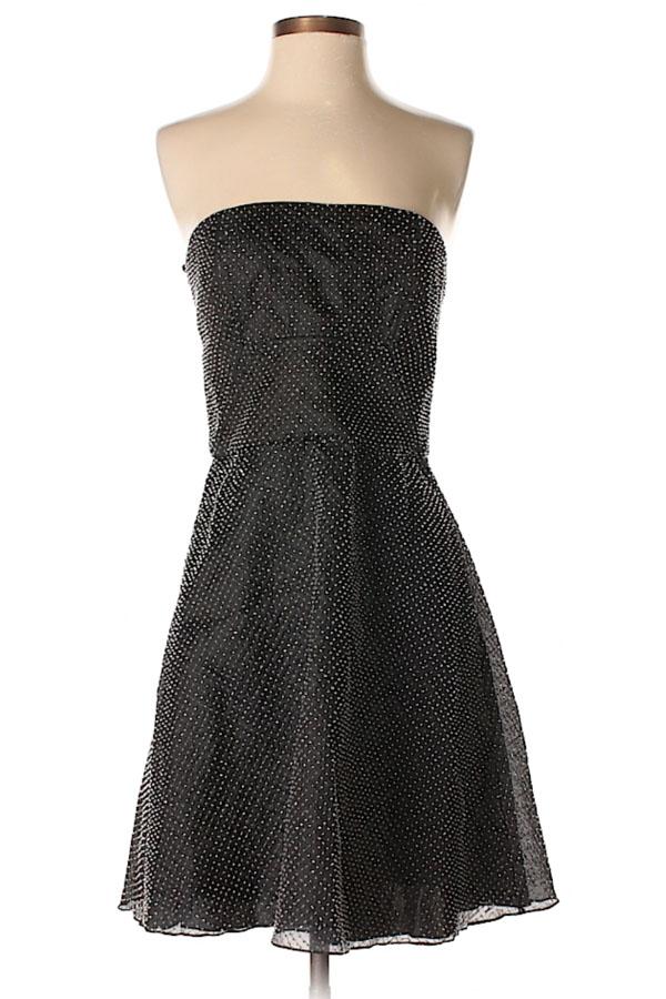 Strapless silver a-line dress