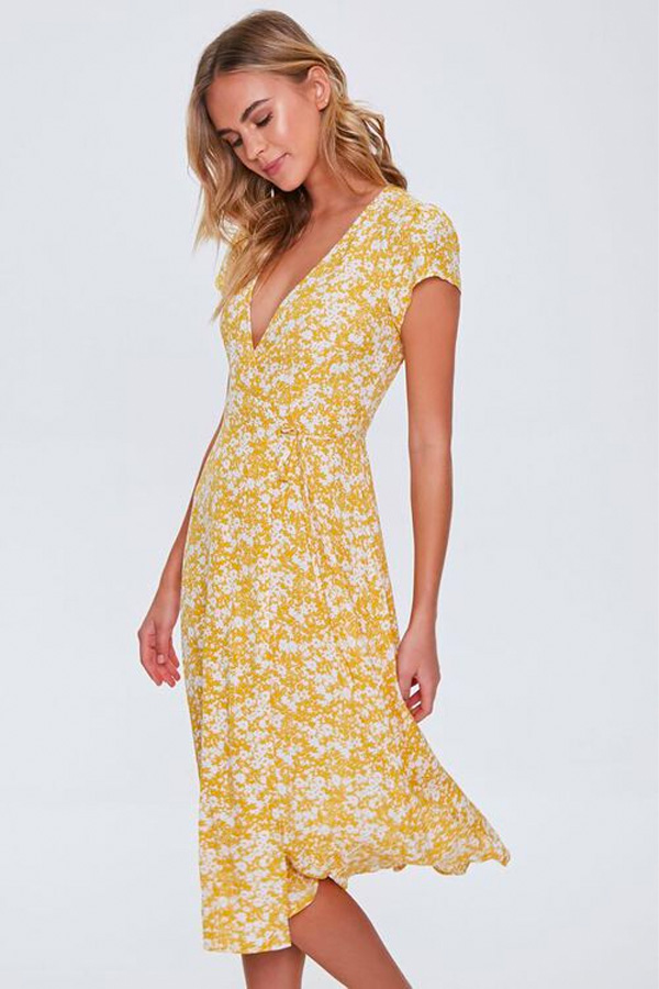 Yellow floral dress from Forever 21.