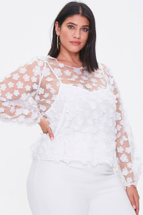 Trending clothes from Forever 21 include this sheer overlay top.
