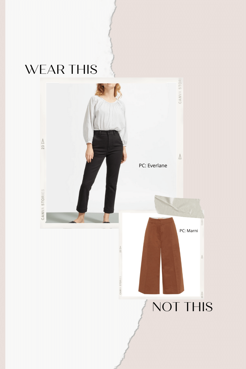 Collage of culottes (the bad 2020 style trend) and cropped pants.