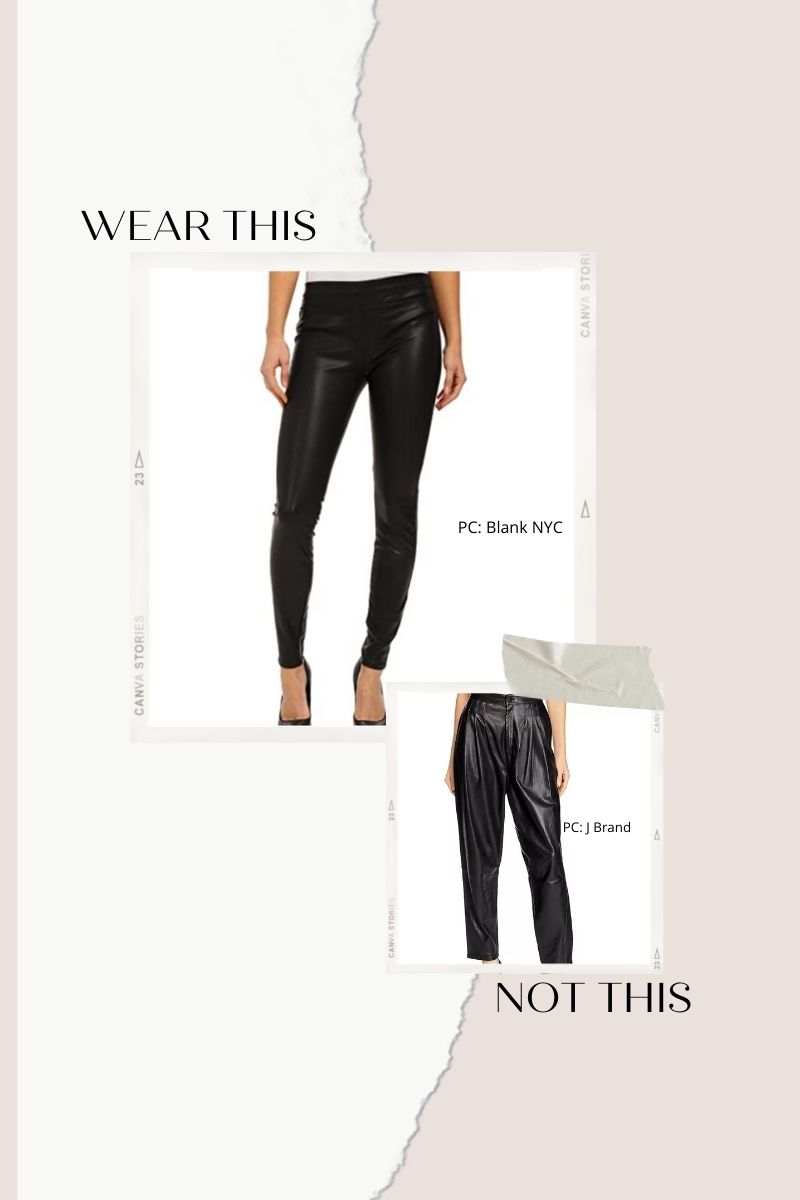 Collage of pleated leather pants and faux leather leggings.