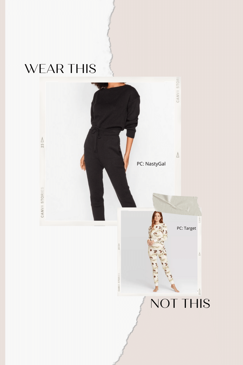Collage of pajamas and knit jogger set.