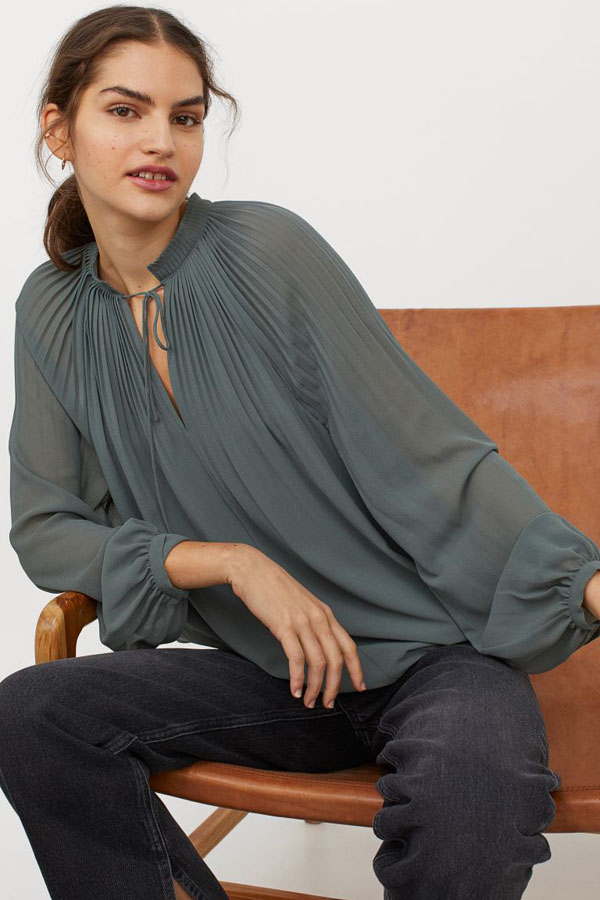Pleated blouse from H&M new arrivals collection