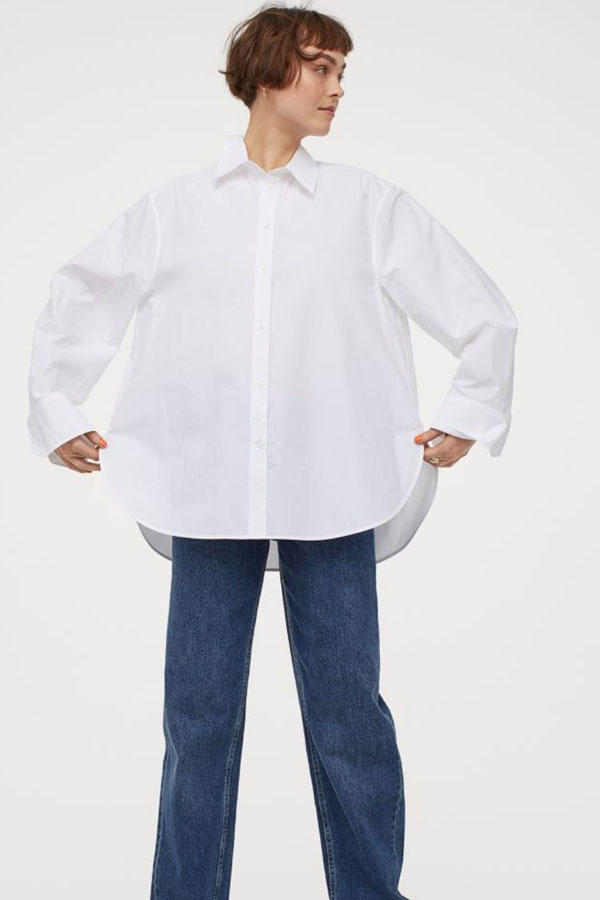 White, cotton oversized top from H&M.