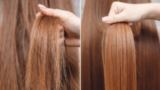 Side by side images of damaged hair and healthy hair to represent problem hair solutions.