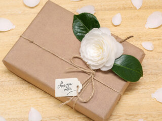 Boxed gift with card reading