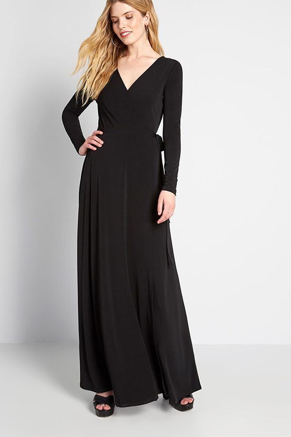 Black maxi dress from Modcloth.