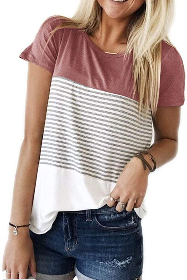 T-shirt from Amazon with color block at the shoulder and stripes across the center.