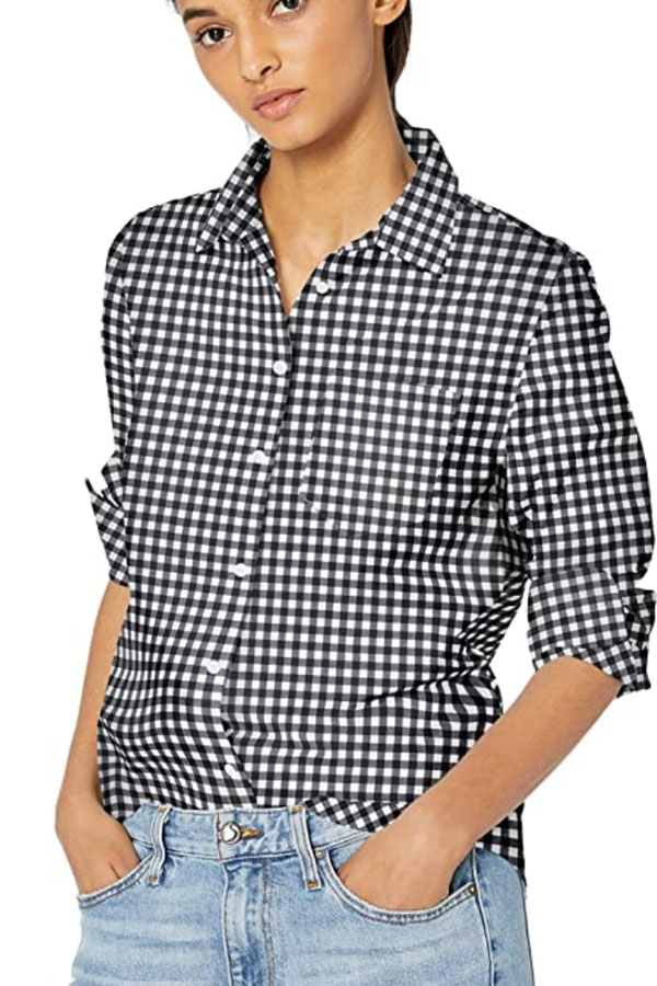 Casual gingham top -- one of the best Amazon tops.