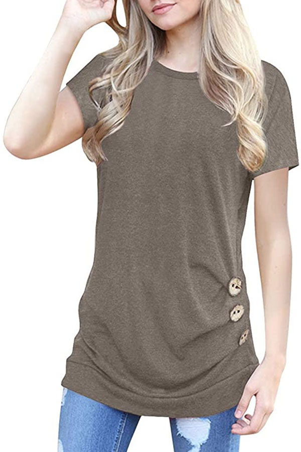 Tunic top in taupe with buttons and side ruching.