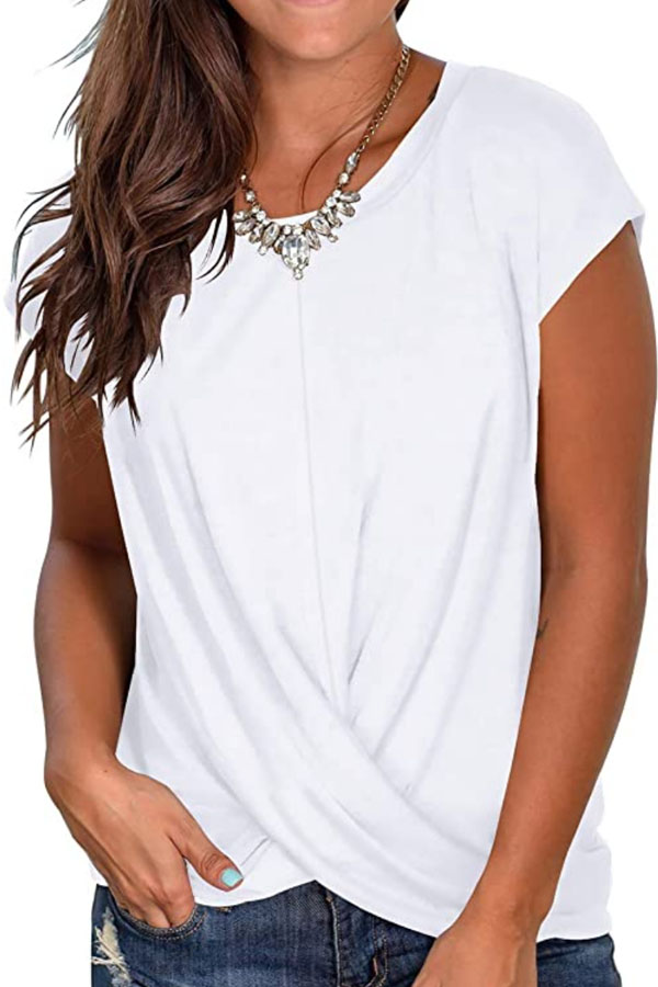 White twist front top from Amazon.