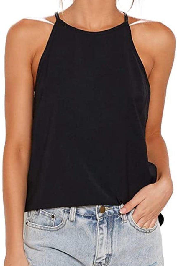 Black halter top with racer back from Amazon.