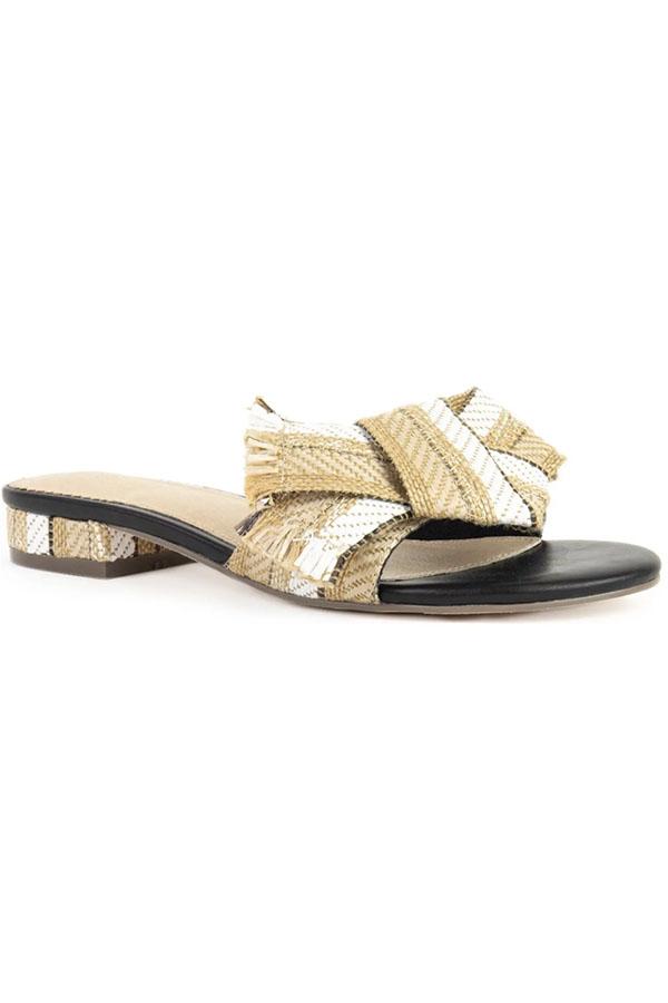 Saffron slide summer sandal by Crevo.