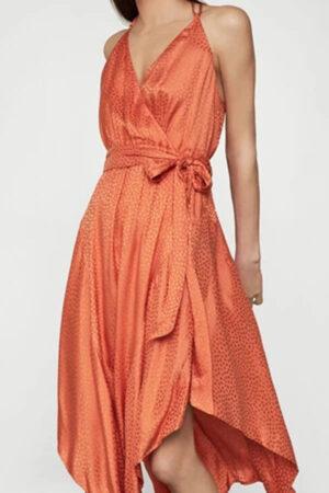 Orange satin wrap dress for summer.