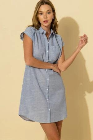 Blue button down shirt dress for summer casual days.