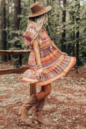 Patterned, cute Bohemian dress for summer.