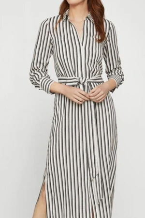 Striped menswear style dress with tie at waist.
