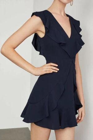 Short navy blue dress with ruffles.