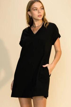 Black t-shirt dress for summer casual days.