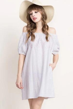 Embroidered, off-shoulder dress.