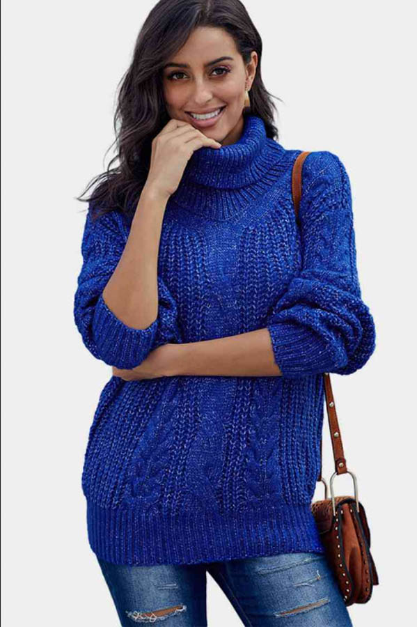 Turtleneck sweater in one of the best fall fashion colors, royall blue.