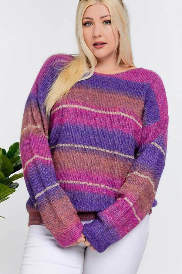 Pink and purple color block sweater.