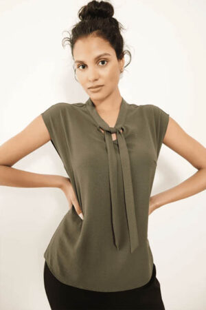 Olive cap sleeve blouse from Executive by Stephanie.