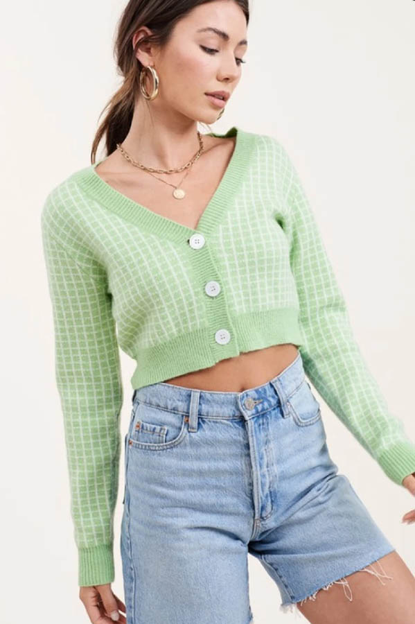 Neon green cropped sweater for fall.