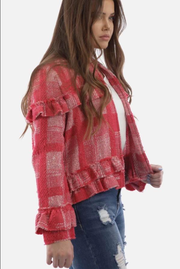 Red tweed jacket.
