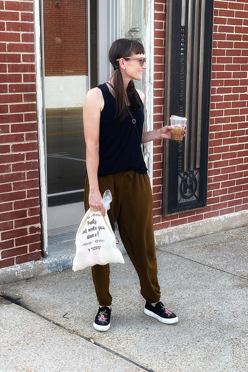 Blogger wearing jogger harem pants while running errands.