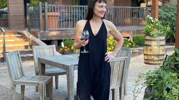 Catherine Brock blogger wearing harem pants jumpsuit.
